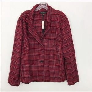 NWT TALBOTS |  Red and Black Plaid Blazer 20w 20